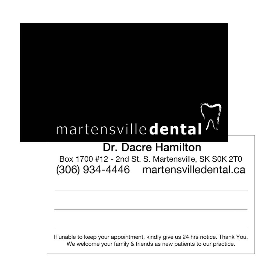 Appointment reminder business card design