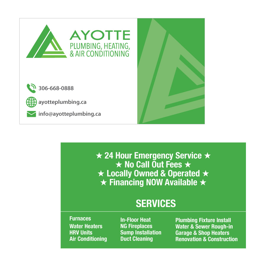 Matte business cards plumbing company