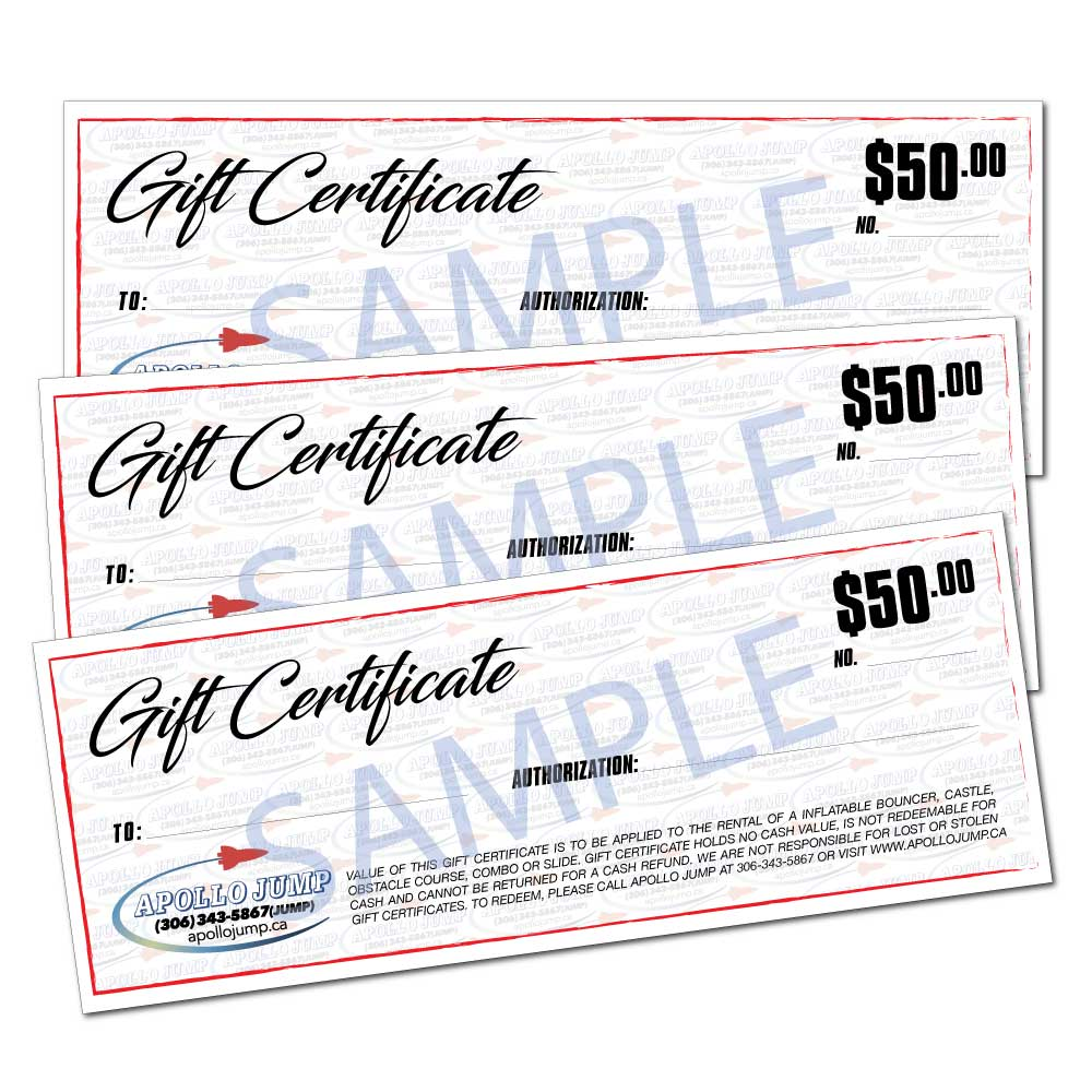 Numbered gift certificates Thunderbay