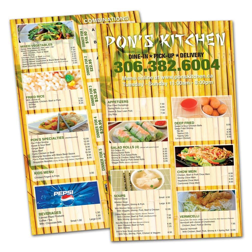 Restaurant takeout menu design