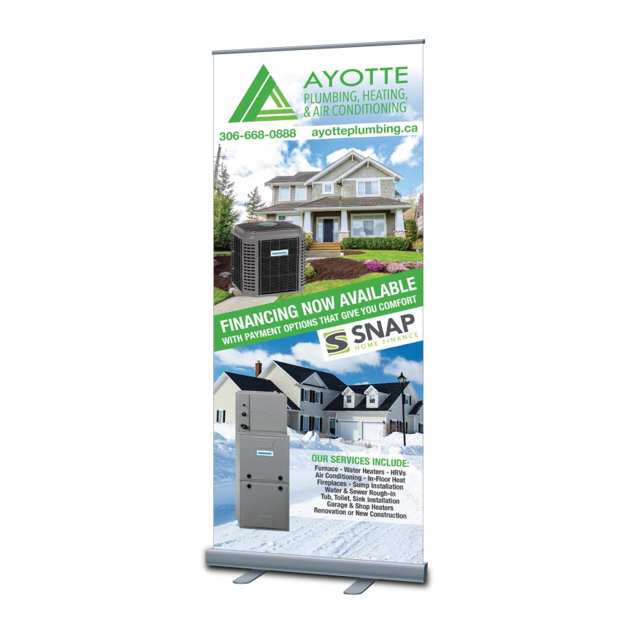 Retractable spring loaded vinyl banner design