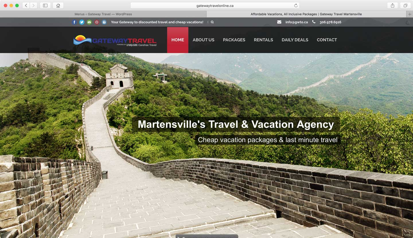 Travel agency booking website development Canada