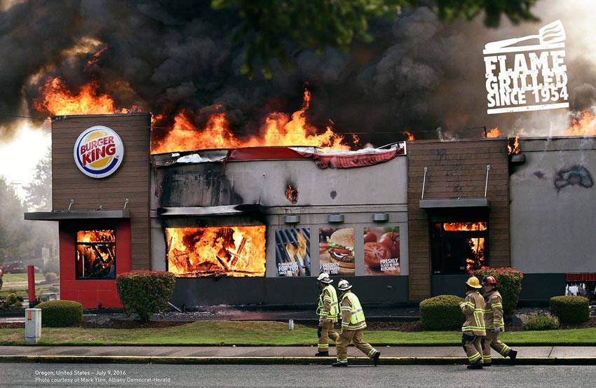a burning Burger King restaurant
