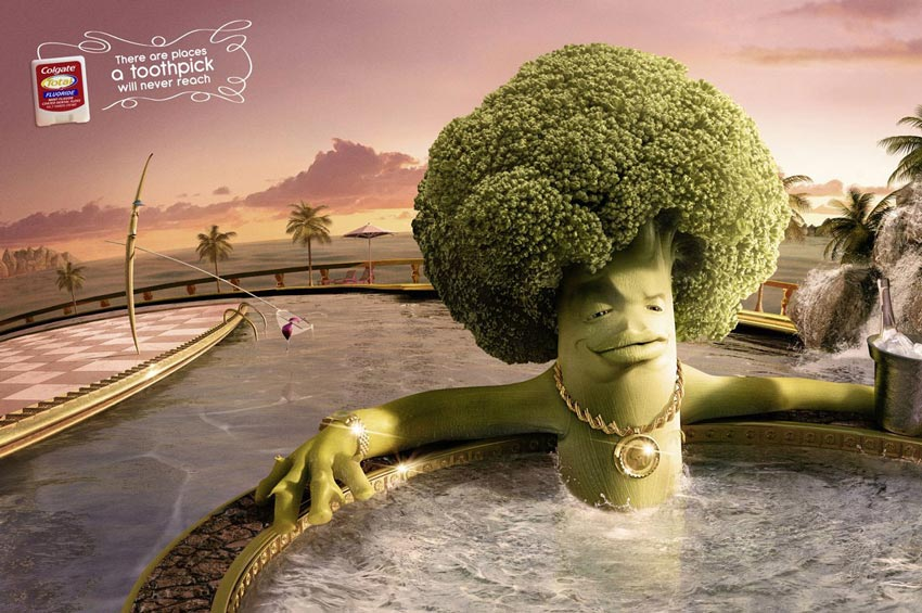 a toothpick cleaning a pool with a broccoli swimming out of reach