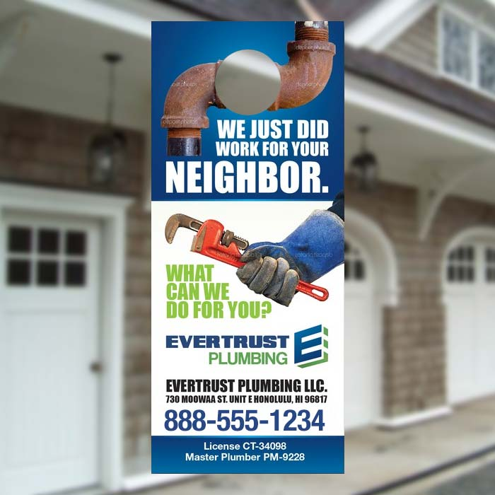 Plumbing company marketing idea : Promotional door hangers for plumbers