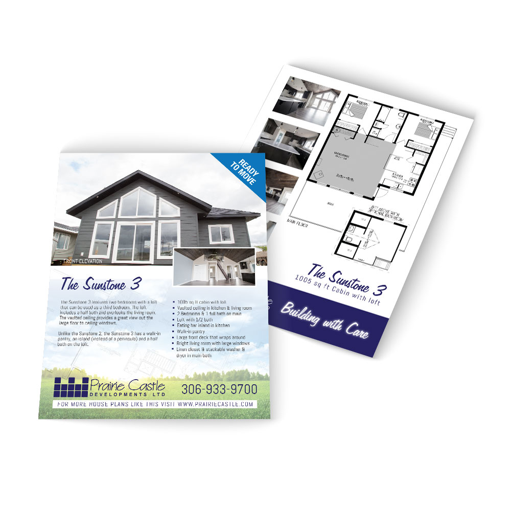 Home builder marketing sheets